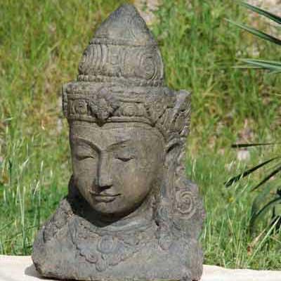 Vente statue en pierre sculpt e bouddha dewi ganesh - Tete de bouddha en pierre pour jardin ...